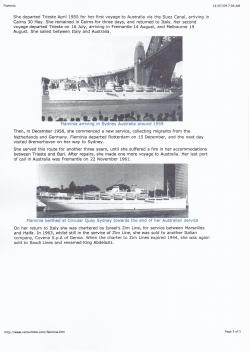 A document I found about the Flaminia and it's arrival in Sydney in 1959.