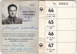 Dad must of travelled to Germany for work back in 1961. This was his identification travel pass which Mum had kept.