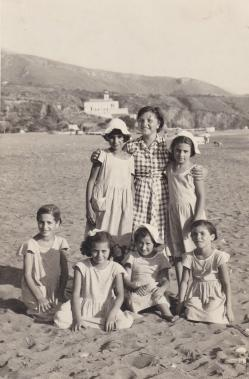 Mum was only 9yrs old when this precious photo was taken at Summer camp at Praia A Mare in 1953. She is the first one on the left hand side.