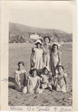 My adorable Mum at 9yrs old with her friends. They are enjoying Summer camp at Praia a Mare.