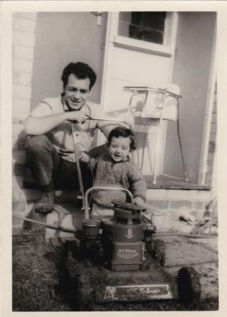Mum took this memorable photo of Frank helping Dad mow the lawns with his H.G.Palmer lawn mower. It's 1967 and Dad looks so proud.