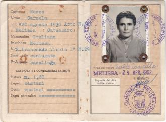 An identification card for Mum that she must of needed. It's dated 24th April, 1962.