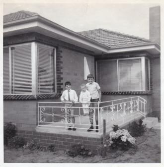 An adorable photo of Sam, Frank & Nick in late 1965 on the veranda of their Morwell Avenue home.