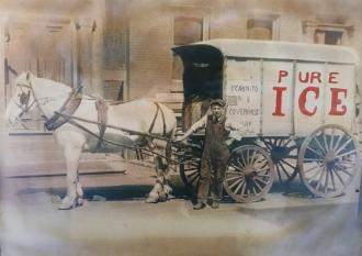 A precious photo of my Nonno Francesco in New Jersey standing in front of his Ice Cart business.