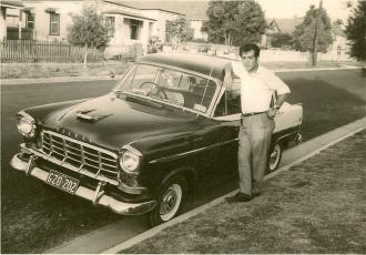 My gorgeous Dad posing with his friend Domenic's car while living at 64 Scott Street, Dandneong. It's 1965 and I'm not sure if he's met my Mum yet?