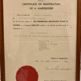 Dad's Certificate of Registration of a Hairdresser which he proudly received in December, 1962.