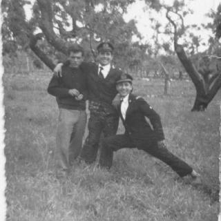 Dad with his two friends in Bitritto in 1957