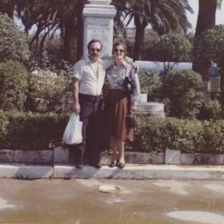 Dad and Mum in front of the Villa Communale in Bitritto.