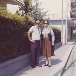 Dad and Mum posing in Bitritto, Bari on a sunny day. It is July, 1977.