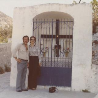 Dad and Mum at St Michele, Foggia. They are at the bottom of the mountain. It's August, 1977.