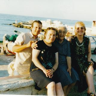 Mum with Nicola, Zia Angela and Dad's sister Santa.  They are at Lungomare, Bari.