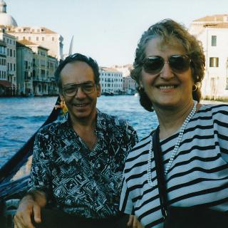 Mum and Dad on tour riding on a Gondola in Venice. It's July, 1998.