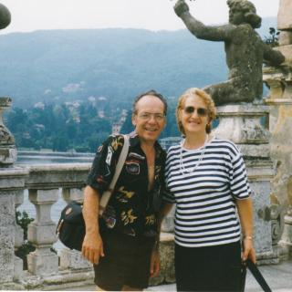 Dad and Mum enjoying Lago Verbano (Lake Maggiore) while on tour. They look so happy.