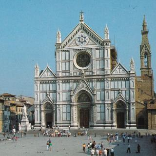 A postcard sent from Mum and Dad while on tour. They send their love from La chiese di Santa Croce in Firenze.