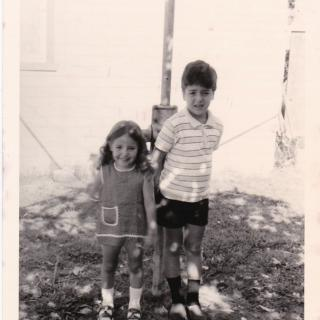 I love this cute photo of me and my brother Frank in our backyard at 15 Gloria Avenue, Dandenong.