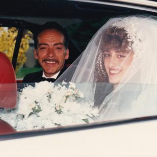 My adorable Dad and me sharing a precious moment on my Wedding Day. It's 1st April, 1989 and we are on our way to St Gerard's.