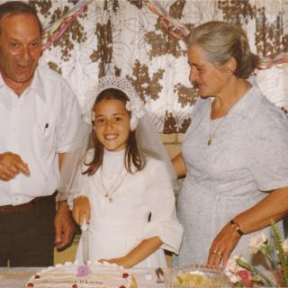My Nonno Aurelio and Nonna Ermelinda on my Communion Day. It's 25/11/79 and we are celebrating in our memorable garage at Gloria Avenue, Dandenong.