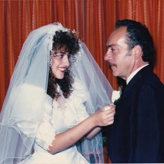 Dad and I were very close and we had a deep connection. Here I am putting on his flower on my Wedding Day, 1st April, 1989.