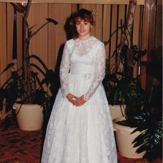 Dad took this full length picture of me proudly wearing Mum's beautiful Wedding dress. I think Mum had a hoop underneath on her special day as she looked like a Princess.