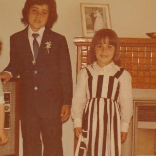 Frank and I on his First Holy Communion day which was not long after we had arrived back from Italy in 1977. I really loved my black and white dress and wore it everywhere.