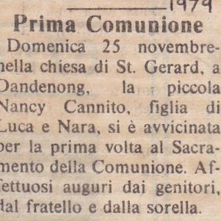 On my Communion Day, Mum and Dad had put this special notice in the Globo newspaper as a memory for me.
