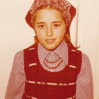 It's 1979 and International day at Greenslopes.  Mum dressed me up as a Calabrian girl with her amazing hand made skirt. Trusting me with her Nonna's necklace and earrings made it even more memorable.