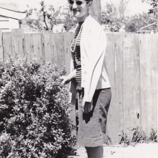 My Mum looking very stylish with her Polaroid sunglasses on while living in Fairfield. The photo is dated 1.7.60 which was also Mum's 16th Birthday.