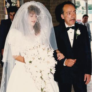 My beautiful Dad walking me down the aisle on my Wedding Day. It's the 1st April, 1989 and we are both a little emotional. In 1989, you would enter St Gerard's Church from the side.