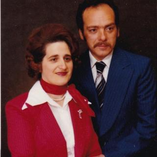 Mum and Dad had this memorable photo taken on the same day that I had my First Holy Communion cards done.  They look so cute in matching suits. Mum's hair was blonde so we are not sure why it looks red.