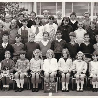 Frank's school photo from 1968. He was in Grade 5 in a composite class and is last student in the back row.