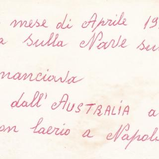 Nonno Salvatore's hand writing from the back of the above photo recounting their journey to Italy.