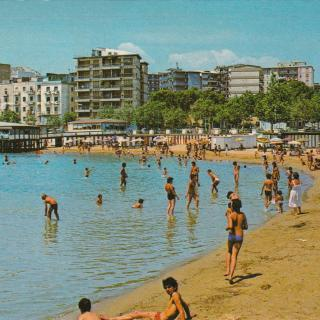 A postcard of the beach in Crotone which you could see from Dad and Mum's apartment.