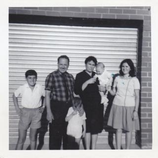 Sam took this photo of the family in front of Dad's finished garage. Dad looking so proud.