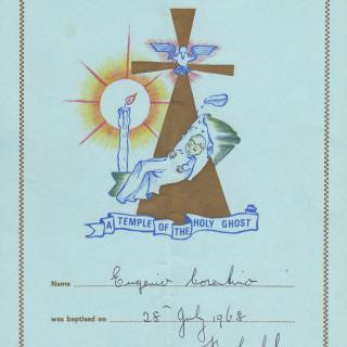 Jimmy's Baptism certificate which Mum had kept. He was Baptised Eugenio and in St Mary's Church as they still lived in Dandenong South.