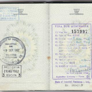 Dad's passport with 20th August 1962 stamped as his departure date.