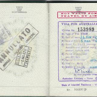 Dad's passport with 6th May, 1962 in Napoli stamped on it.