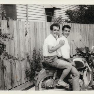 My Dad and his friend Giovanni enjoying a motorbike ride together while living in Scott Street, Dandenong.