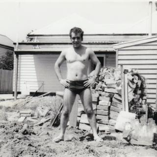 My Dad enjoying the sun and getting a beautiful tan while living in Scott Street, Dandenong.