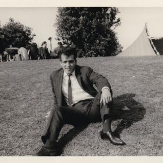 Dad experienced Moomba for the first time in 1963. This memorable photo shows him relaxing on the lawns with the Sidney Myer Music Bowl behind him.