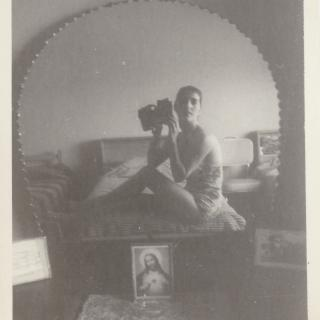 It's 1964 and my clever Mum is taking a memorable 'selfie' in her bedroom with her new camera. The picture of Jesus that you can see was one of the precious things Mum took with her on her voyage to Australia.