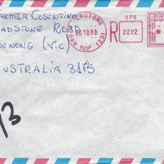 An airmail envelope addressed to Mum sent by her brother Francesco in Crotone.