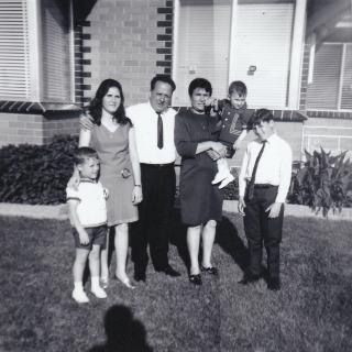 Sam took this memorable photo of the family all dressed up in their Morwell Avenue front yard.