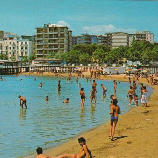 A postcard Mum sent us from Italy in August 1990 of the beach in Crotone.