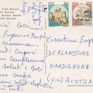 Mum celebrated her 60th Birthday in Italy just as I was celebrating my 21st here in Australia. She sent me this postcard to wish me a Happy Birthday and to tell us that she thinks of us always.