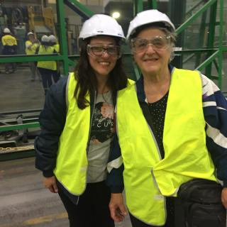 Mum and I touring the old Pilkington plant with all our safety gear on.