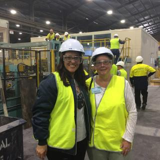 Mum took this memorable photo of me and another Nancy who had worked with my Dad. It was all thanks to her that we were able to experience this fabulous tour of the Pilkington plant.