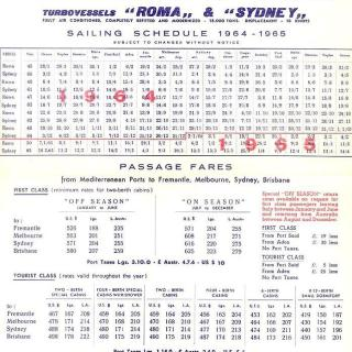 A sailing schedule for passenger service between Italy and Australia with passage fares from 1964 - 1965 for the ship 'Roma'.