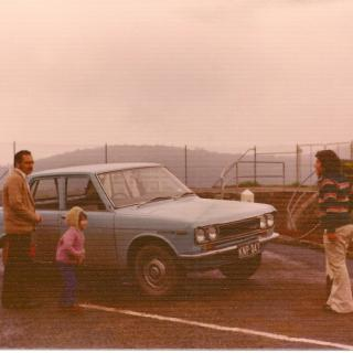 Mum took this memorable photo of Dad, Frank and Linda with Nellie on a day out at Maroondah Dam in the mid 70's.