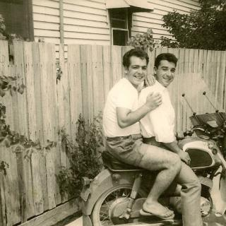 Dad and Giovanni enjoying life while living in Scott Street, Dandenong. It's 1964 and Dad is only 22yrs young.