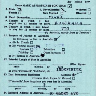 Jim's migration documents from November 1970.